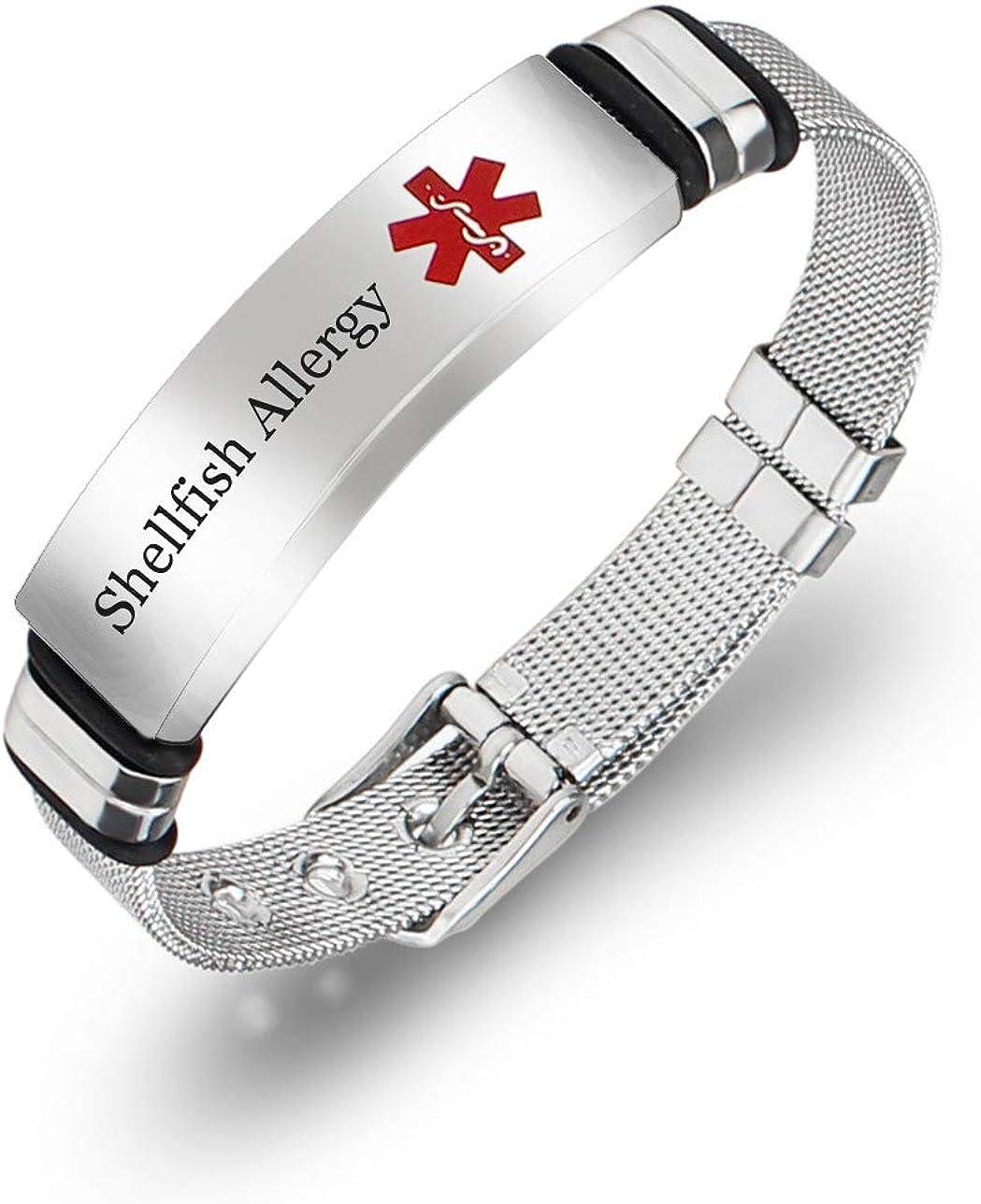 Murinsar Free Customized Surgical Steel Medical Alert Allergy Awareness Bracelet Adjustable ID Bangle for Emergency Aid