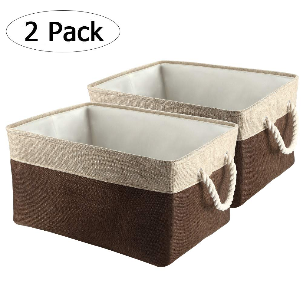 Collapsible Storage Bins, IdealHouse Large Foldable Fabric Storage Cubes Laundry Basket with Cotton Rope Handles for Kid's Toys Books [2-Pack]