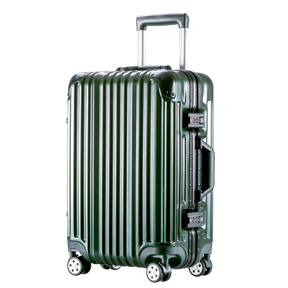 [トラベルハウス]Travelhouse スーツケース キャリーバッグ アルミフレーム ABS+PC 鏡面 超軽量 TSAロック B01MDTFX21 M|ブラックグリーン ブラックグリーン M
