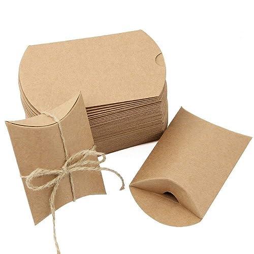 Boîtes Cadeaux JTDEAL Sacs Cadeaux Kraft, Boîtes Vintage de Bonbons avec Corde de Chanvre pour Mariage Fête Chocolats, Écrous, Sucres, Biscuits, Bonbons 50 Pièces