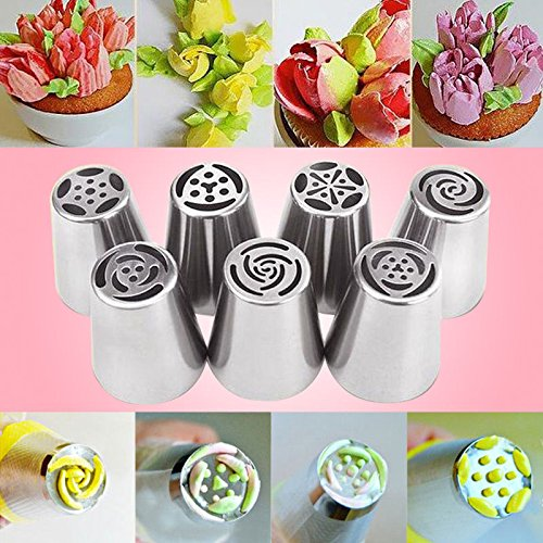 [New 7pcs Russian DIY Pastry Cake Icing Piping Decorating Nozzles Tips Baking Heavy duty Tool USA] (Donut Costume Pinterest)
