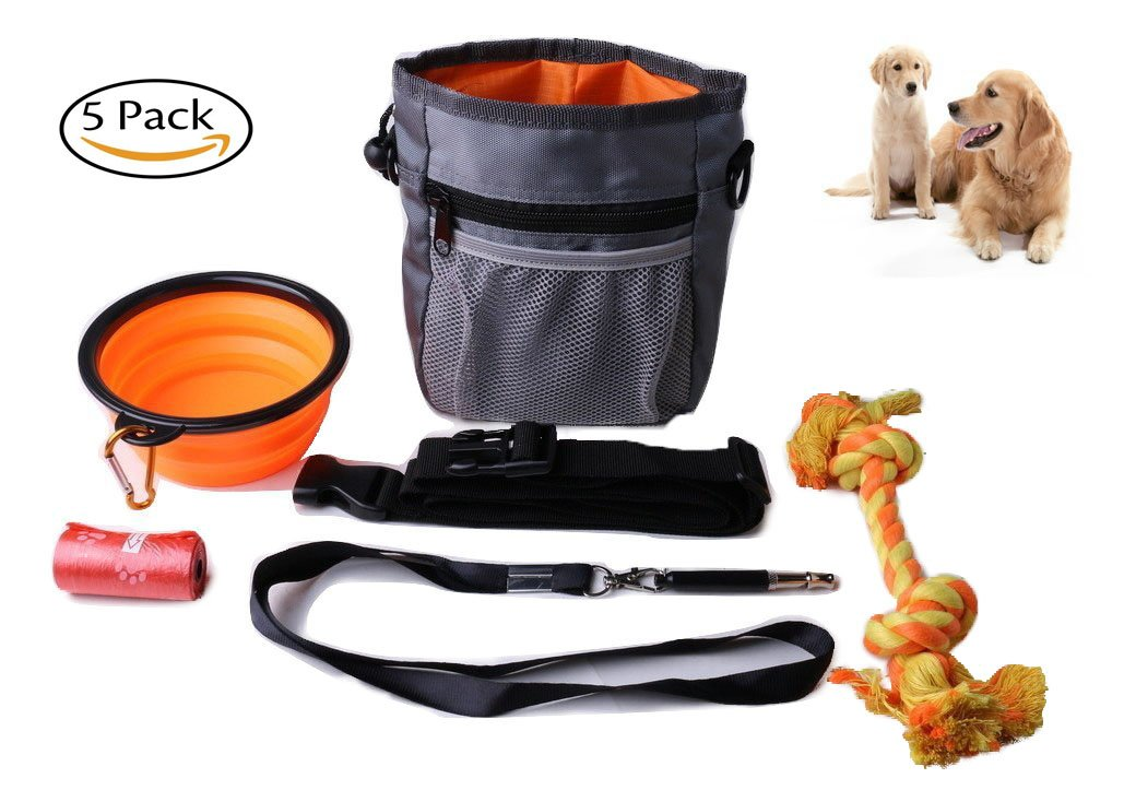 Dog training Pouch Built-in Poop Dispenser Can carry toys & Collapsible Bowl + Free Dogchewrope toy + Roll of Poo BagDispenser + Dog whistle -Perfect Dog training kit 5 PACK