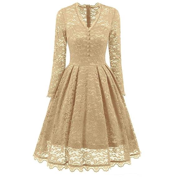 24f42f4e4575 Kleider , Frashing 50s Damen Kleider Spitzenkleid Schulterfrei Langarm  knielang festlich Cocktail Abendkleid Vintage V-