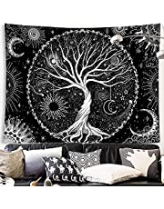 """Susimond Tree of Life Tapestry, Black and White Starry Tapestry, Aesthetic Wall Hanging Tapestries, Home Decor Tapestry for Bedroom, Living Room, Dorm (M: 51.2"""" x 59.1""""(130 x 150 cm), Tree of Life)"""