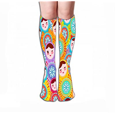 "High Stockings Athletic Compression Long Socks For Women And Girls 19.7""(50cm) pretty russian dolls matryoshka pink blue green colors bright pretty russian dolls matryoshka: Clothing"