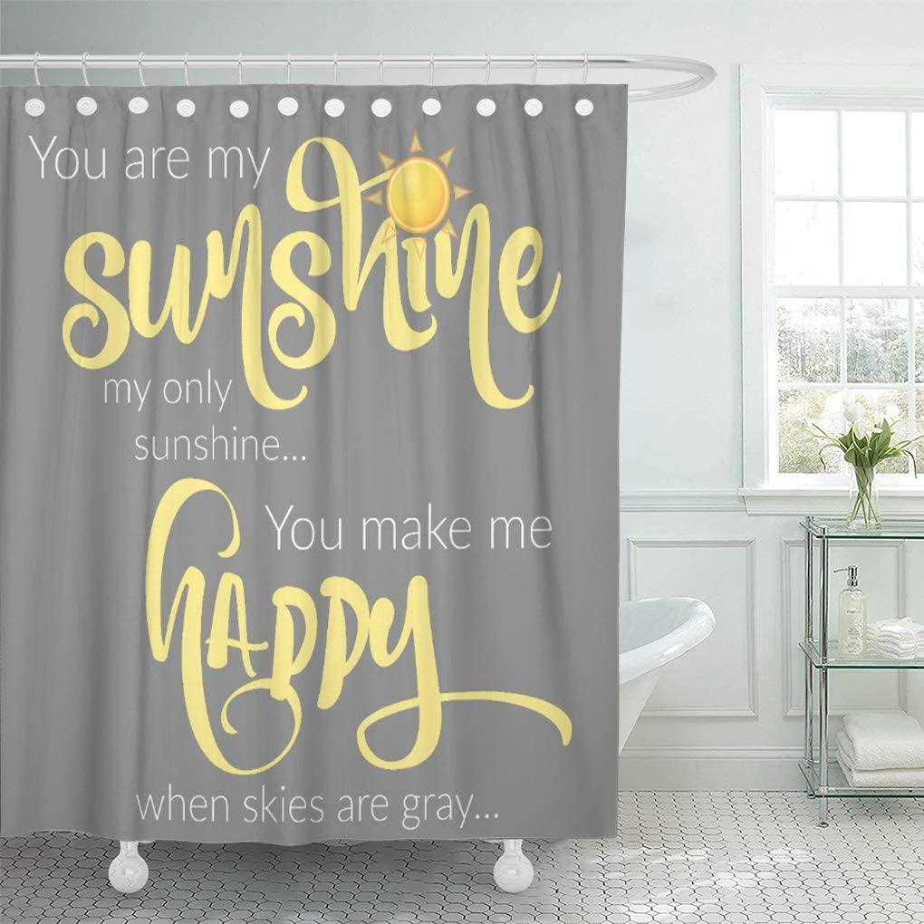 "Semtomn Shower Curtain You are My Sunshine Yellow on Gray Chevron 66""x72"" Home Decor Waterproof Bath Bathroom Curtains Set with Hooks"