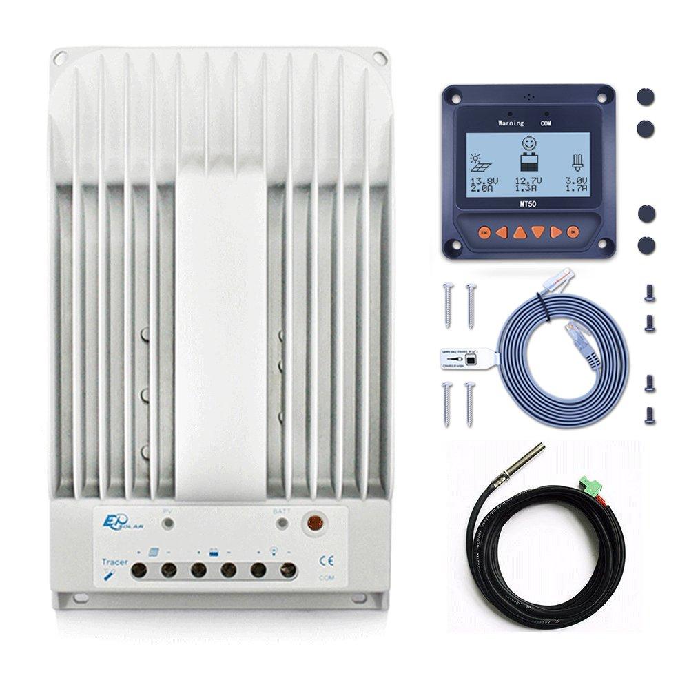 30amp 40amp MPPT Solar Charge Controller +Remote Meter MT50 Monitor+Temp.Sensor PowMr (4215BN+MT50+RTS)