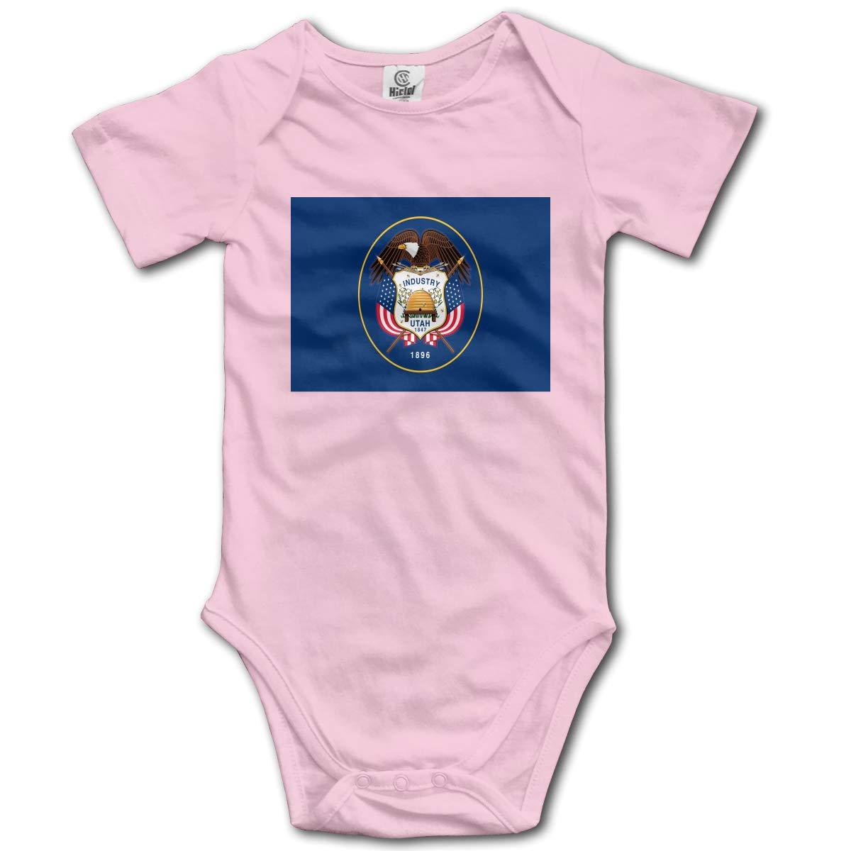 CUTEDWARF Baby Short-Sleeve Onesies Utah State Flag Bodysuit Baby Outfits