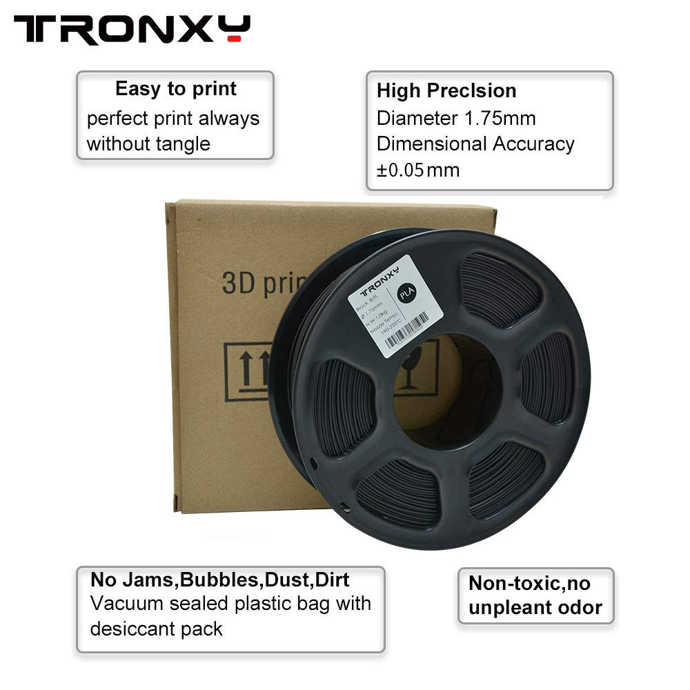 Black PLA - Filamento de impresión 3D (1,75 mm, 1,75 kg, 1 kg ...