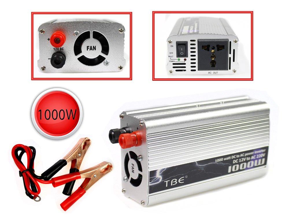 Vetrineinrete® Inverter 1000 watt di potenza 12V a 220V per auto caricabatterie convertitore di tensione trasformatore portatile per camper converter da viaggio G2