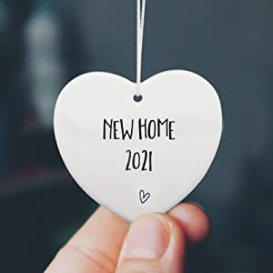 New Home 2021 Ornament, Lovely Ornament as Housewarming Gift New Home Gift Keepsake for Moving House Ceramic Heart Present Ornament