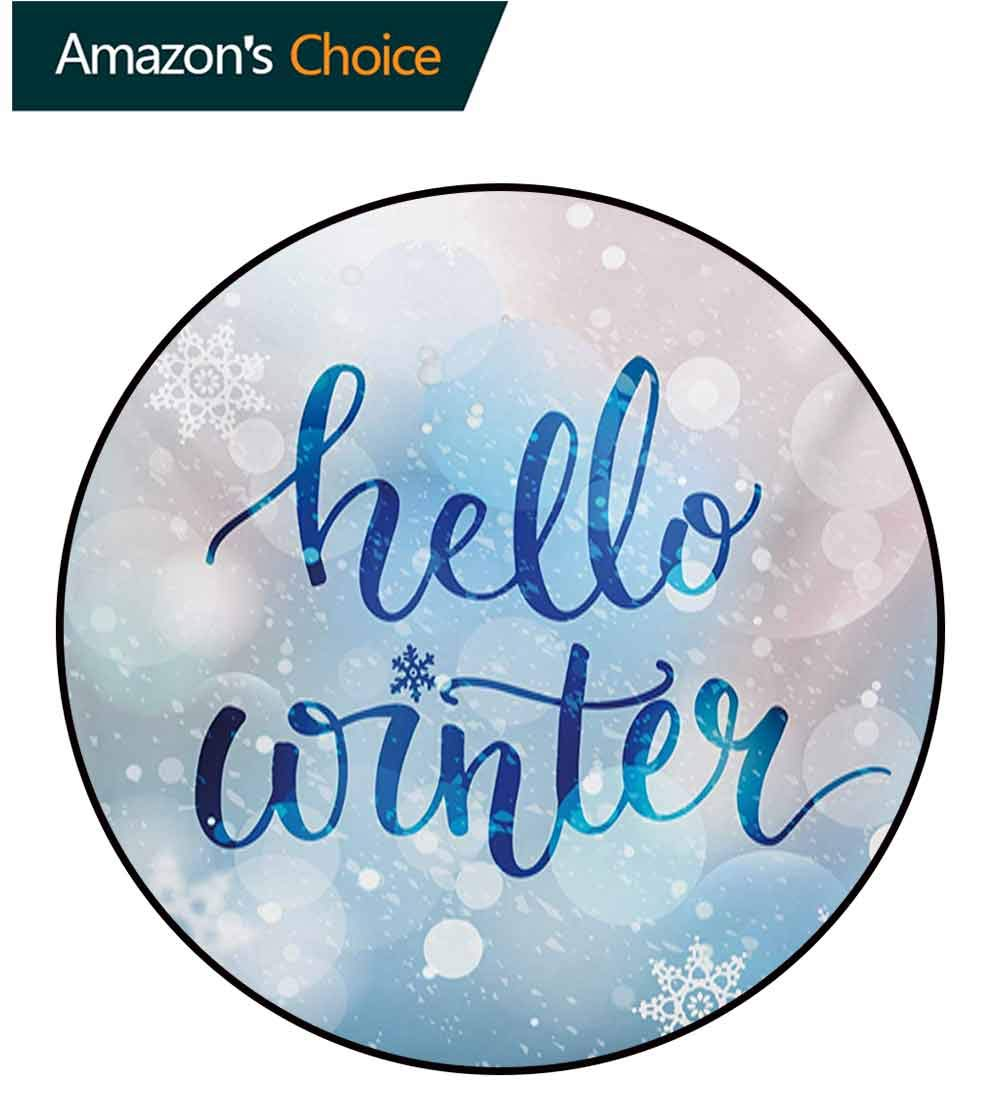 Winter Modern Machine Washable Round Bath Mat,Hello Winter Stylized Lettering On Abstract Blurry Snowflakes Bokeh Effect Non-Slip Living Room Soft Floor Mat,Diameter-55 Inch