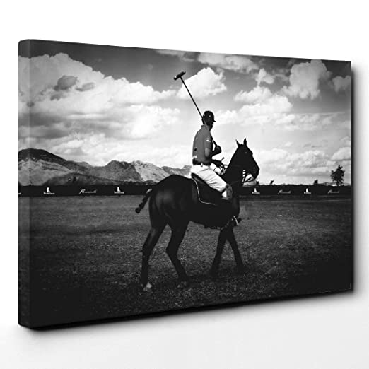 Lienzo de pie Polo caballo y figuras, madera, multicolor, 101 x 71 ...