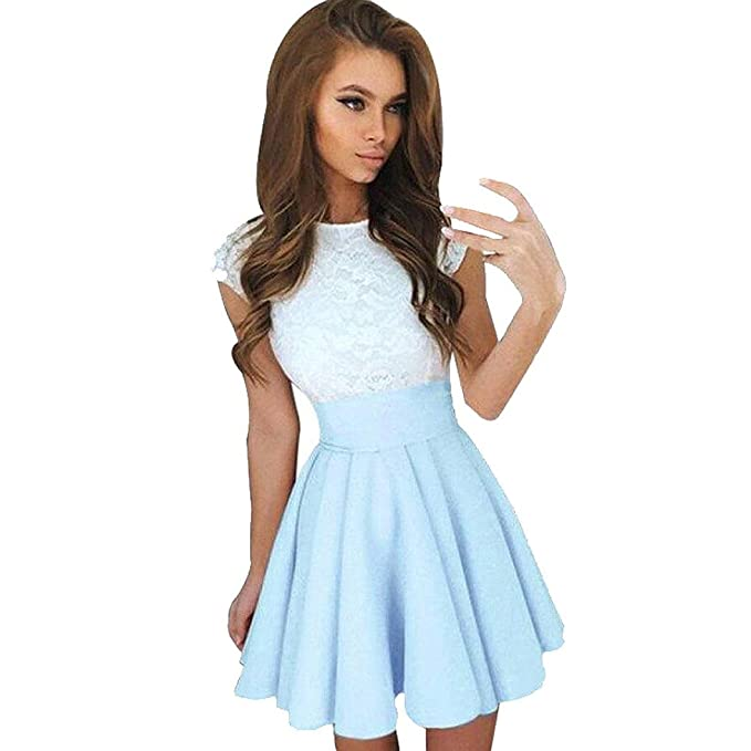 29a70fab7a8fb Kangma Women Summer Lace Party Cocktail Ladies Mini Skater Skirt Short  Sleeve Dresses at Amazon Women's Clothing store: