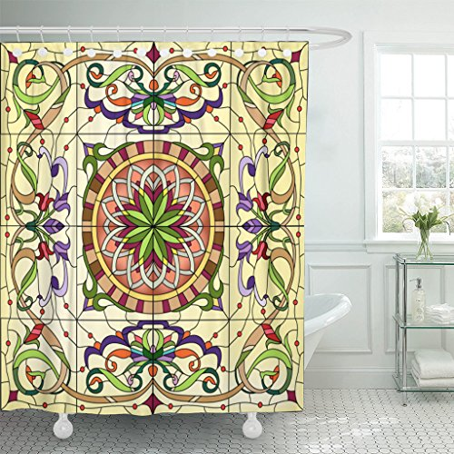 Emvency Shower Curtain Mosaic Abstract Floral Stained Glass Window Flower Bloom Blossom Waterproof Polyester Fabric 60 x 72 Inches Set with Hooks