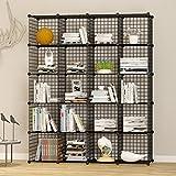 UNICOO Multi Use DIY 20 Cube Wire Grid Organizer,Wardrobe Organizer, Bookcase, Book Shelf, Storage Organizer, Wardrobe Closet - (Black Wire)