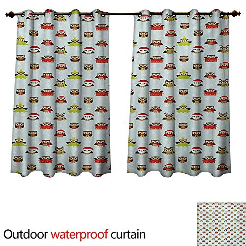 WilliamsDecor Owls Outdoor Ultraviolet Protective Curtains Christmas Theme with Sweet Celebration Icons Santa Claus Pine Tree Owls with Presents W72 x L72(183cm x 183cm)