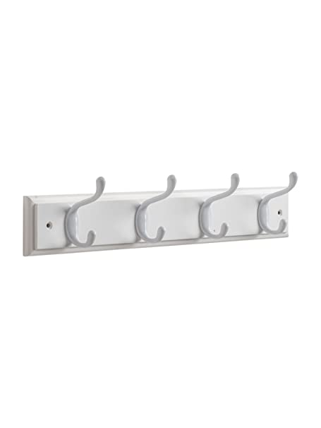 Hat And Coat Hook Rack With 40 White Hooks On White Wooden Board Adorable White Wooden Coat Rack