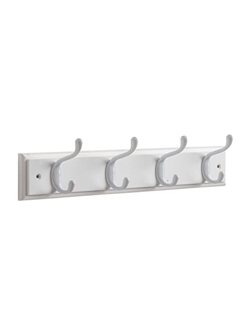 Maine Trading Co - Perchero de Pared para Abrigos - 4 Ganchos Blancos en Tablero de Madera Blanco