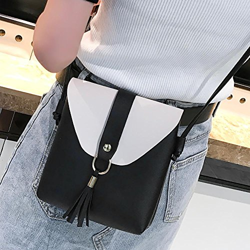 Handbags PU Purse Women Everpert Shoulder Black Patchwork Messenger Leather Casual Tassels qwIzxx