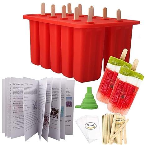 Amazon.com: Wellood - Moldes para paletas de hielo, silicona ...