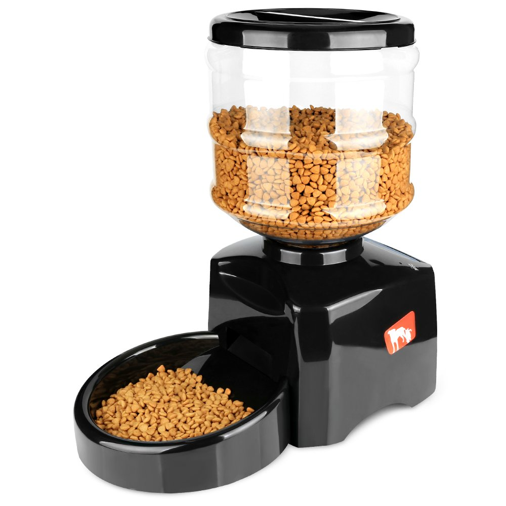 Airsspu 5.5L Automatic Pet Feeder -Support LCD Screen and Voice Message Recording - Healthy,Simply Dogs Cats Food Bowl Dispenser(Black)