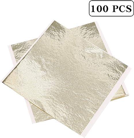 100 sheets Imitation Gold Silver Copper Leaf Foil Paper Gilding Craft 8*8.5 cm