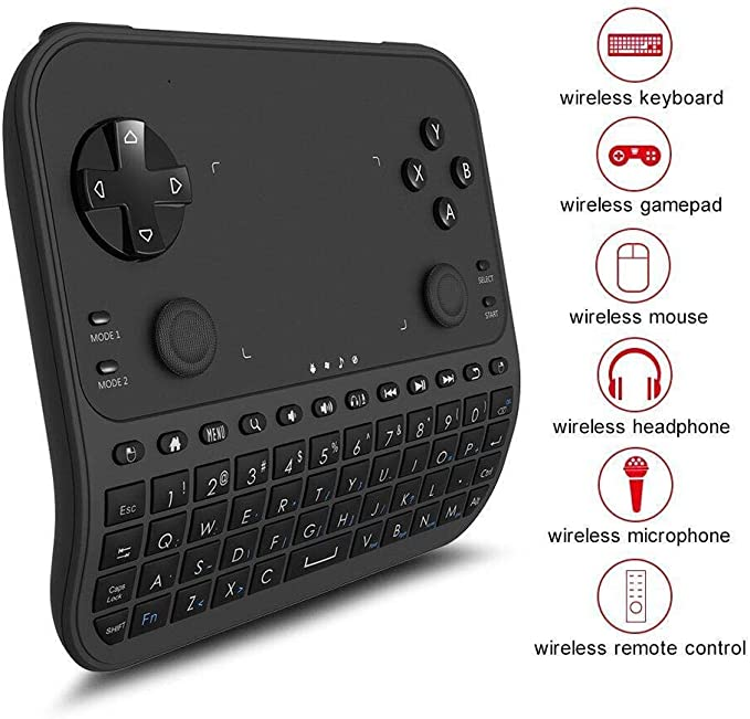 Mini Teclado Inalámbrico , GAKOV GAU6 Wireless Mini 6-en-1 Gamepad inteligente con panel táctil y control remoto