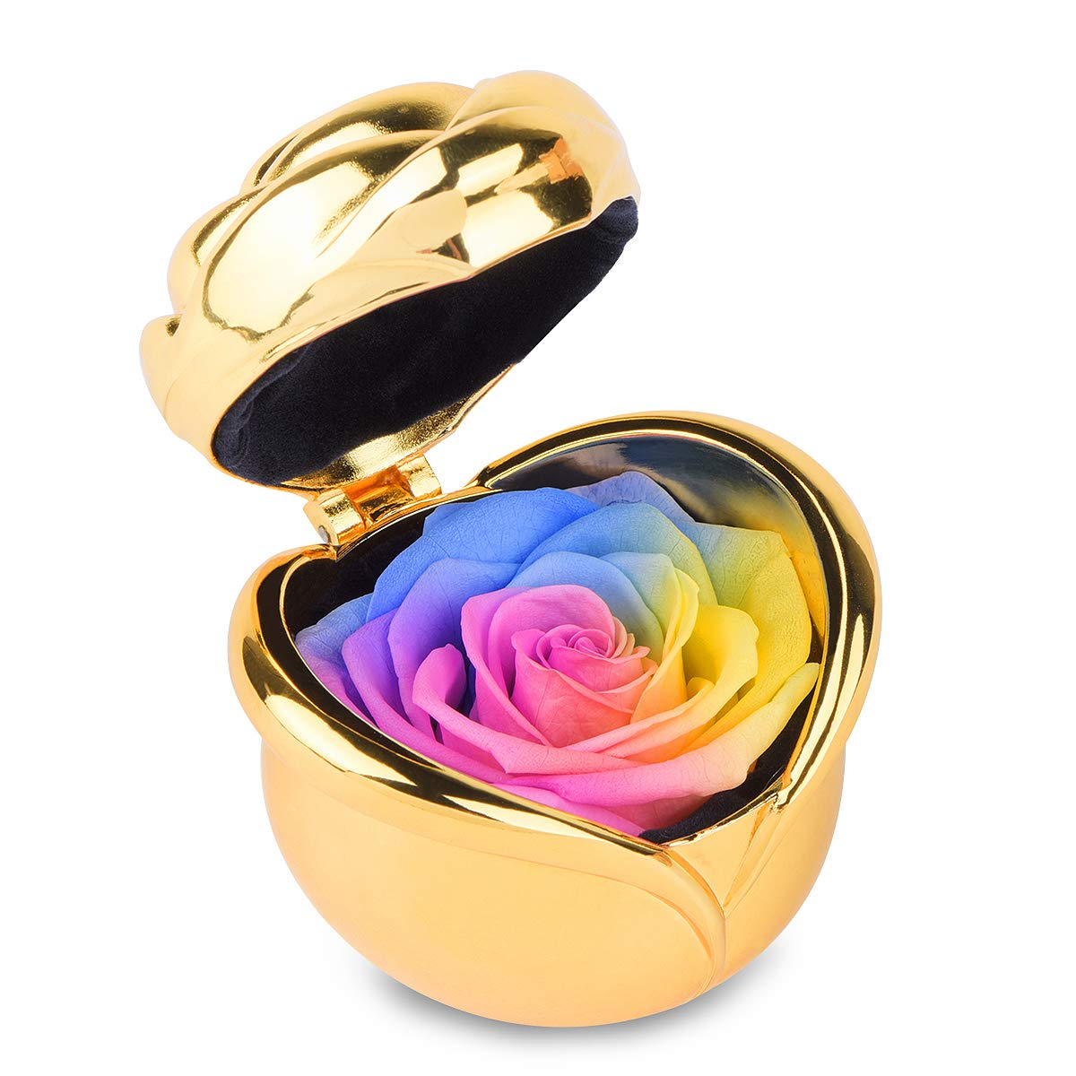 EINID 手作り プリザーブドローズフラワー 決して色あせないバラ 永遠の花 お母様、おばあ様、奥様、ガールフレンド、お嬢様、お誕生日 (ゴールド&レインボー) B07PYWH9ZN