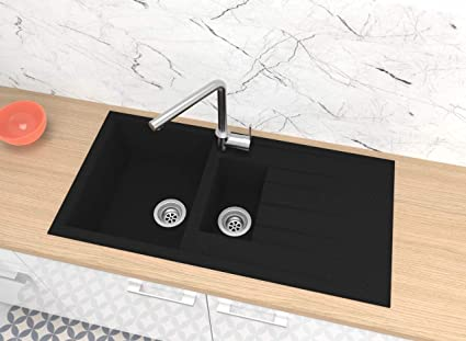respekta Spüle Küchenspüle Einbauspüle Granit Spülbecken Mineralite 100x50  schwarz