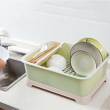 Amazon.com: Hogar con cubierta, estantes de platos, plástico ...