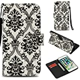 iPhone 8 Plus/7 Plus Case, UZER 3D Series PU Leather Shockproof Kick Stand Function Folio Wallet Case with Card Holder ID Slot Money pocket Durable Magnetic Book Case for iPhone 8 Plus/iPhone 7 Plus