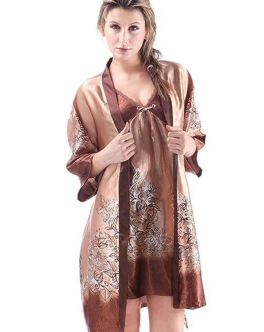 CHENGYANG Mujer Conjunto de Pijama Seda Ropa de Dormir Camisón 2 Piezas Café