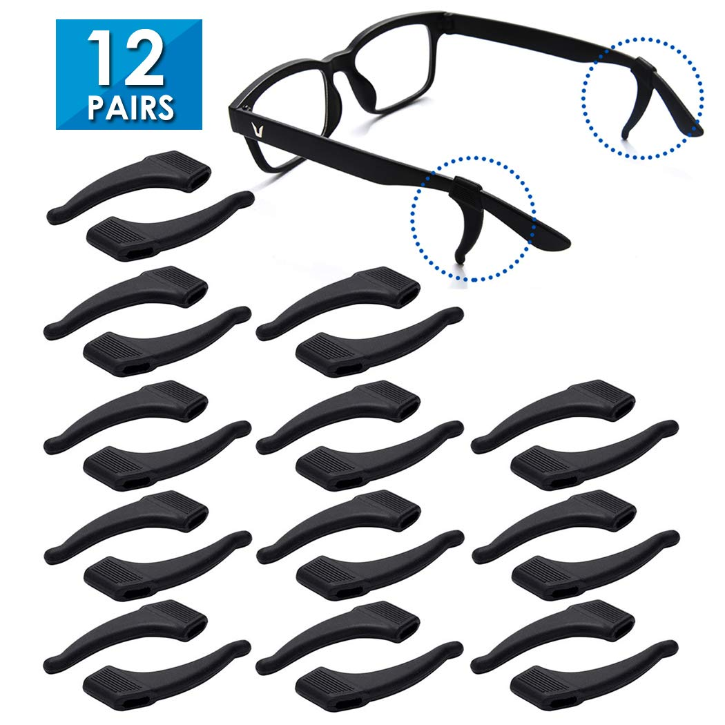 TEEMADE Silicone Eyeglasses Temple Tips Sleeve Retainer,Anti-Slip Ear hooks Comfort Glasses Retainers hooks For Spectacle Sunglasses Reading Glasses Eyewear (Black)