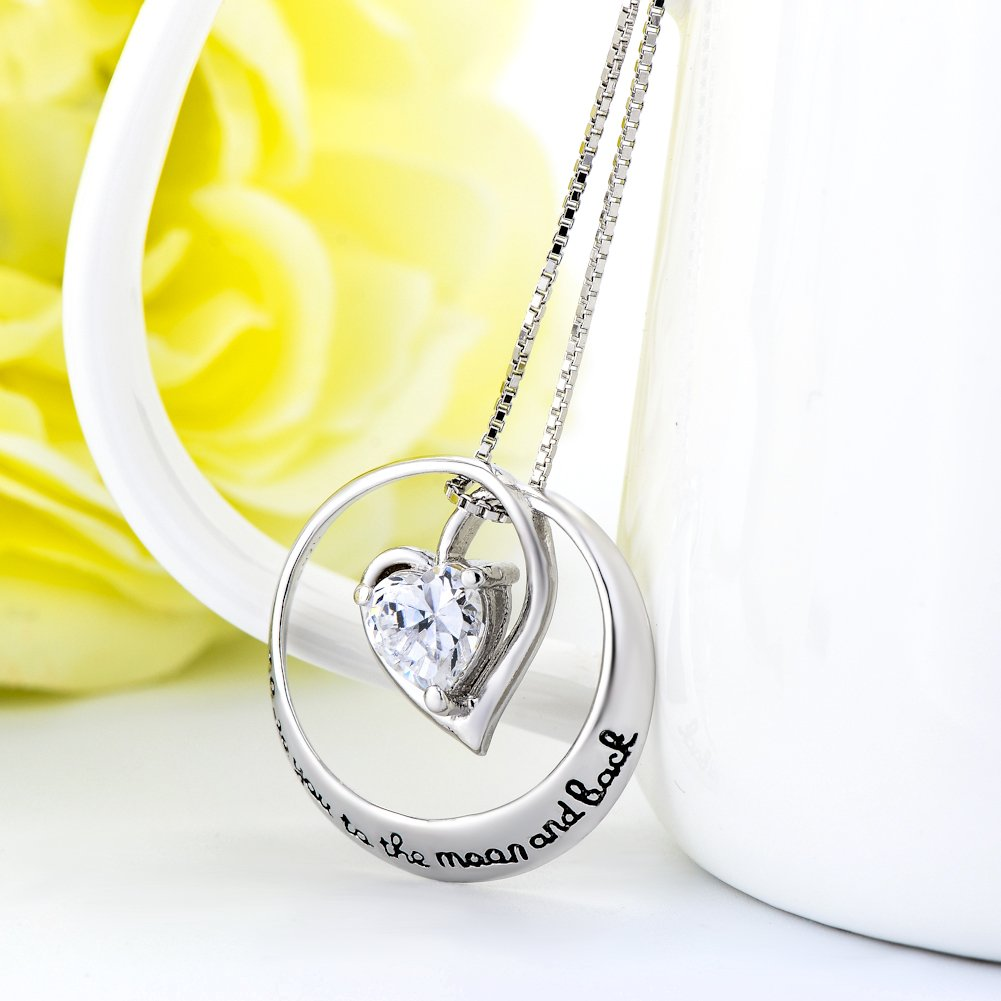 YFN I Love You to the Moon and Back 925 Sterling Silver Open Heart Love Necklace 18'' by YFN (Image #4)