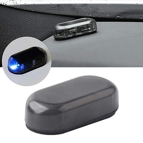 Alarma de Coche LED Luz Simulación Solar Puerta Decoración Luz de Advertencia Luz Antirrobo Luz Intermitente Lámpara de Seguridad(Azul)