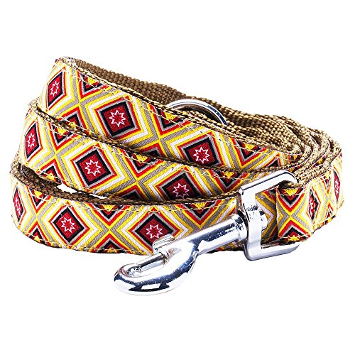 "Blueberry Pet 4 Patterns Durable African Tribes Inspired Colorful Geometry Dog Leash 4 ft x 1"" in Cool Shades, Large, Leashes for Dogs"