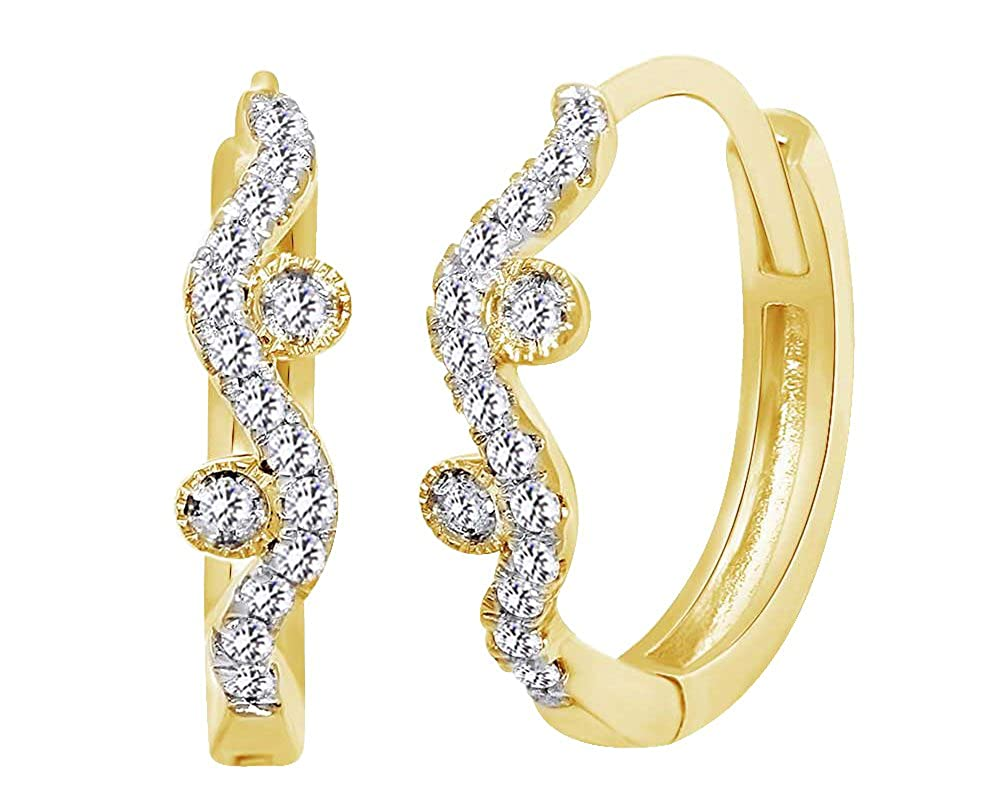 14 Karat (585) GelbGold 0,16 Karat Rundschliff weiß natürlicher Diamant Crest gewellt Ohrringe in 14 ct 585 Massiv Weiß Gold