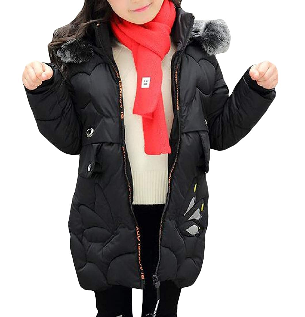Pandapang Girls Cute Outerwear Quilted Hooded Down Coat Parkas Jackets