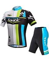 【サンティック】Santic メンズ サイクルジャージ 半袖 上下セット 自転車ウェア サイクリング 4Dパッド付き フィット感
