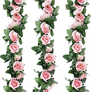3pcs (Each 7.5 inch) Artificial Greenery Fake Rose Hanging Vine Flowers Plants Leaf Garland Hanging for Wedding Party Garden Outdoor Wall Decoration Pink 22