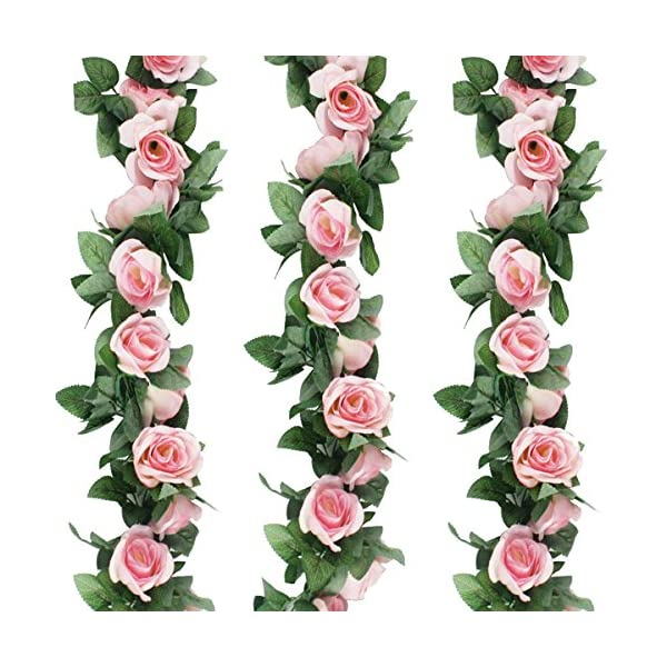 GPARK 3pcs (Each 7.55 FT) Artificial Greenery Fake Rose Hanging Vine Flowers Plants Leaf Garland Hanging for Wedding Party Garden Outdoor Wall Decoration Pink