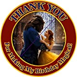 12 BEAUTY AND THE BEAST the Movie - Birthday Party Favor Stickers/Labels for Gift, Goody Treat Bag (2.5 inches circle stickers, bags not included)
