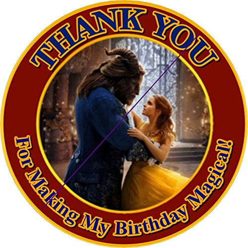 12 BEAUTY AND THE BEAST the Movie - Birthday Party Favor Stickers/Labels for Gift, Goody Treat Bag (2.5 inches circle stickers, bags not included) by A2ZPlusmore