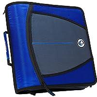 Carpeta con cremallera de 3 pulgadas Case-it Mighty Zip, azul, D-146-BLU