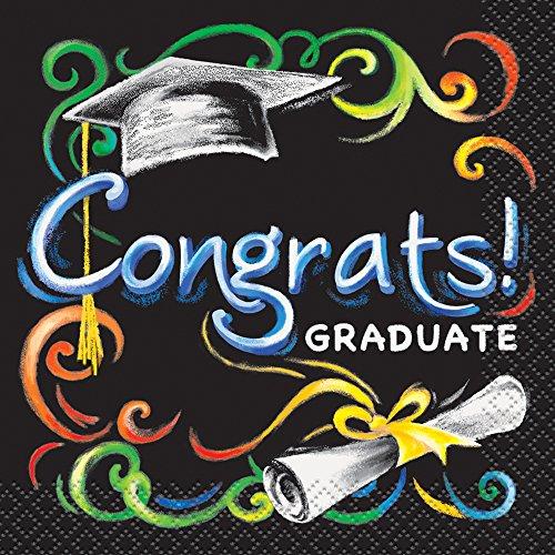 Chalkboard Graduation Beverage Napkins 16ct