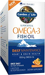 Garden of Life EPA/DHA Omega 3 Fish Oil - Minami Natural Brain Function, Heart and Mood Supplement, 2 Pack 60 CT