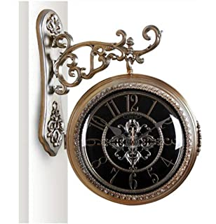 ZHJZBGZ European Double-Sided Wall Clock Hanging Table Living Room Two-Sided Clock American