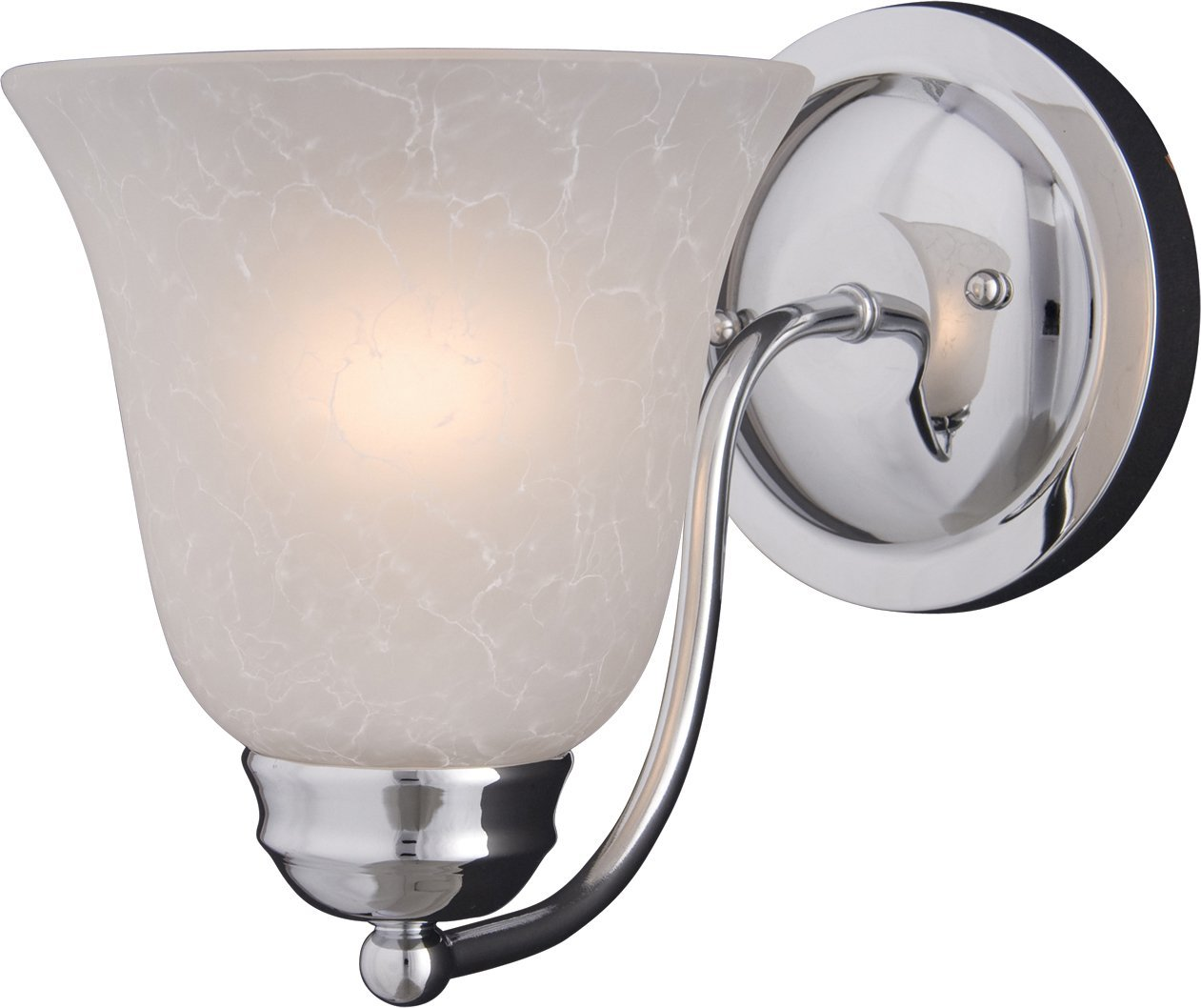 Maxim 2120ICPC Basix 1-Light Wall Sconce Bath Vanity, Polished Chrome Finish, Ice Glass, MB Incandescent Incandescent Bulb , 100W Max., Damp Safety Rating, Standard Dimmable, Glass Shade Material, 4600 Rated Lumens