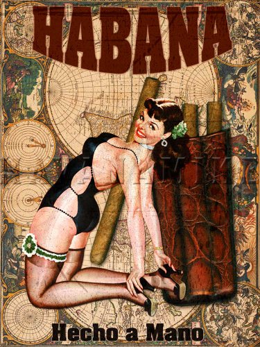 CUBAN Cigar PINUP GIRL Vintage MAP HAVANA Cuba TOBACCO Print ART Poster - measures 24